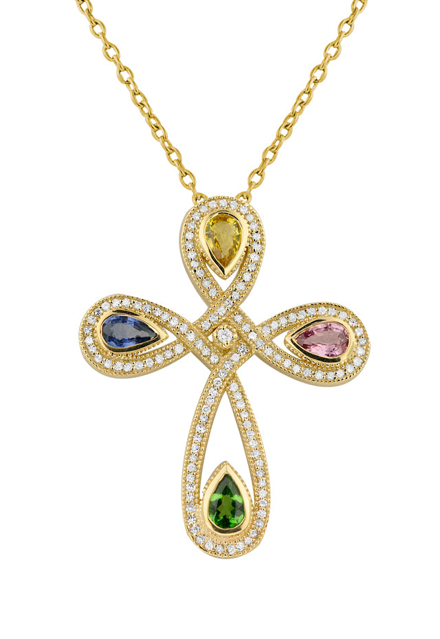 Effy 14K Yellow Gold Multi Gemstone & Diamond Cross Pendant, 2.52 TCW
