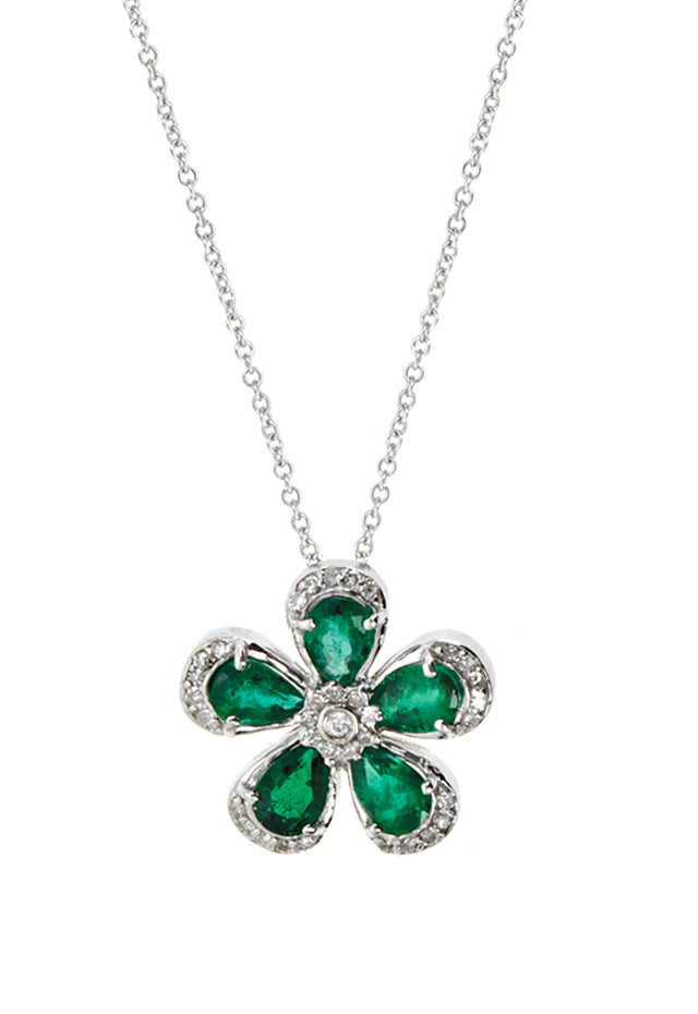 Effy 14K White Gold Emerald and Diamond Flower Pendant, 2.08 TCW