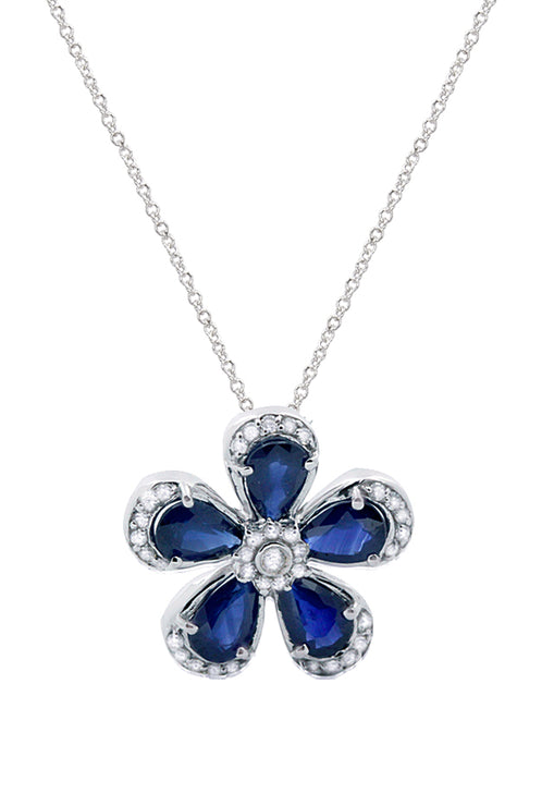 Effy 14K White Gold Sapphire and Diamond Flower Pendant, 2.56 TCW