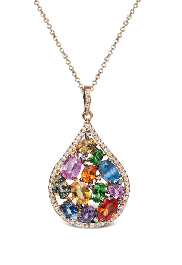 Watercolors Multi Sapphire & Diamond Pendant, 4.57 TCW