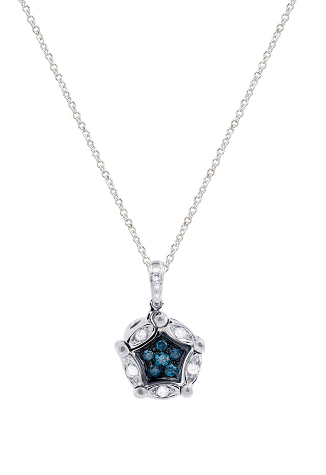 DiVersa Blue and White Diamond Pendant, .26 TCW