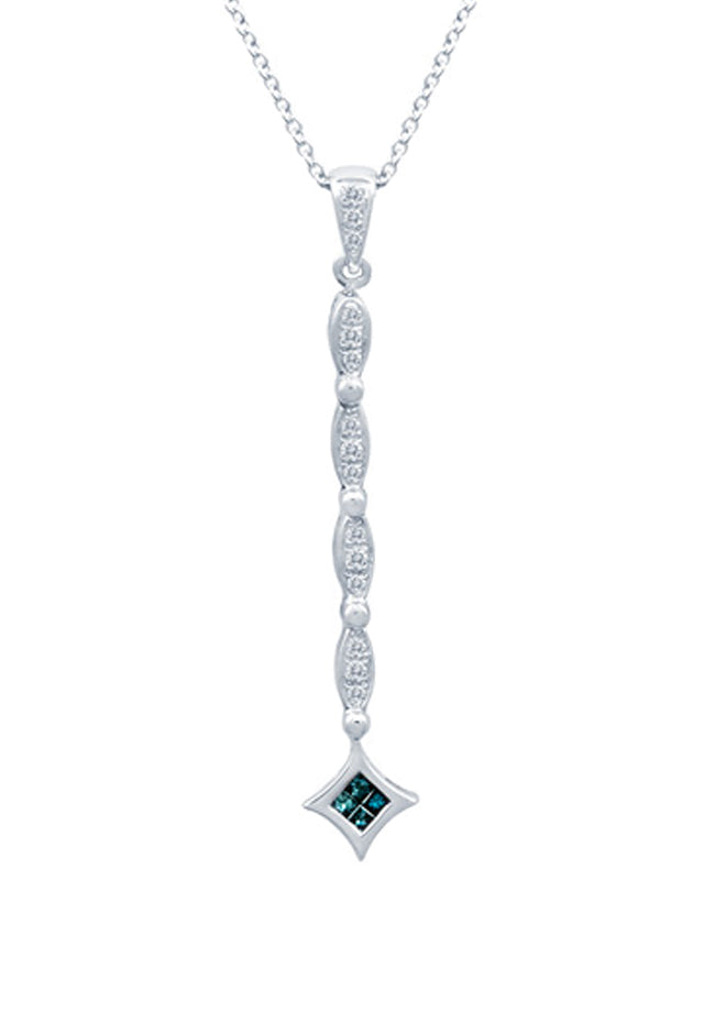 DiVersa Blue and White Diamond Pendant, .25 TCW