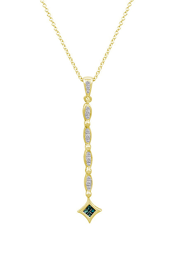 Effy Diversa 14K Yellow Gold Blue and White Diamond Pendant, 0.26 TCW