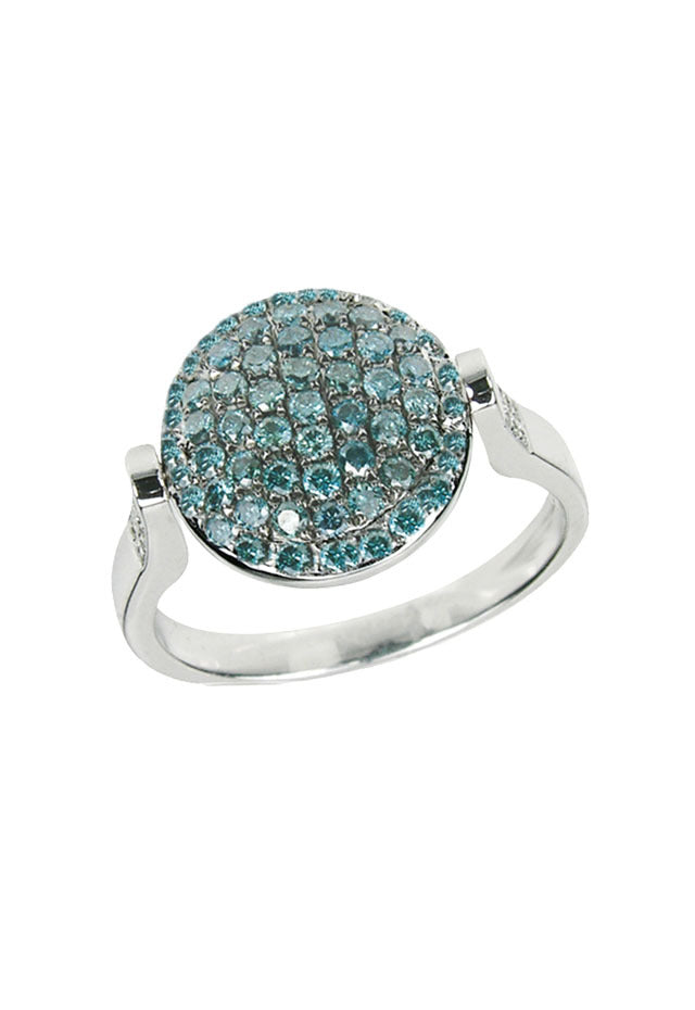 DiVersa Blue and White Diamond Ring, 1.16 TCW