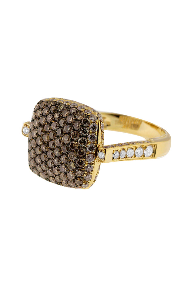 Diversa 18K Yellow Gold Cognac & White Diamond Ring