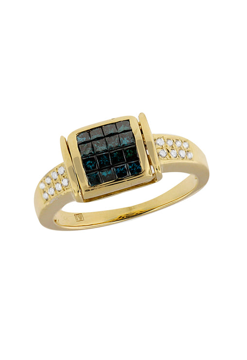 Diversa Yellow Gold Blue & White Diamond Ring, .98 TCW