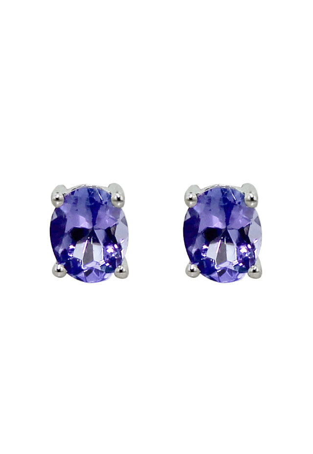 Effy 14K White Gold Oval Tanzanite Stud Earrings, 0.65 TCW