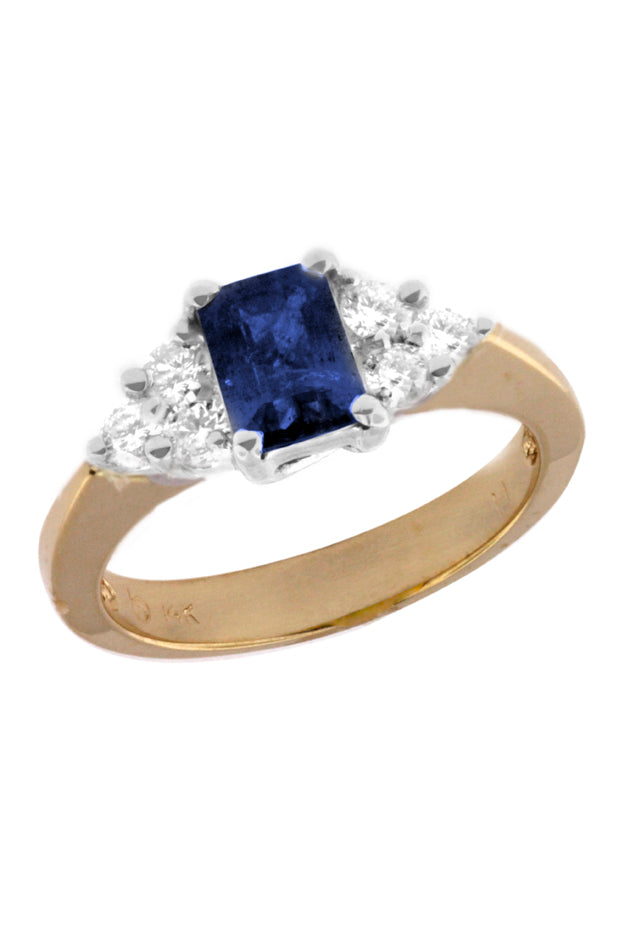 Effy Royale Bleu 14K Yellow & White Gold Blue Sapphire and Diamond Ring, 1.46 TCW