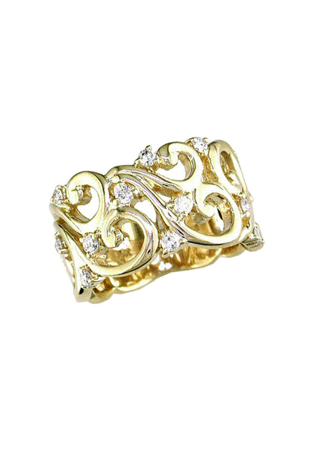Effy D'Oro 14K Yellow Gold Diamond Filigree Ring, 0.41 TCW