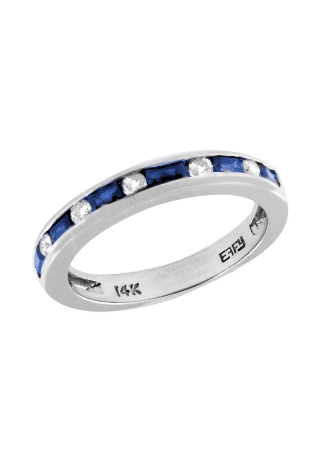 Gemma Sapphire and Diamond Channel-Set Ring, 0.71 TCW