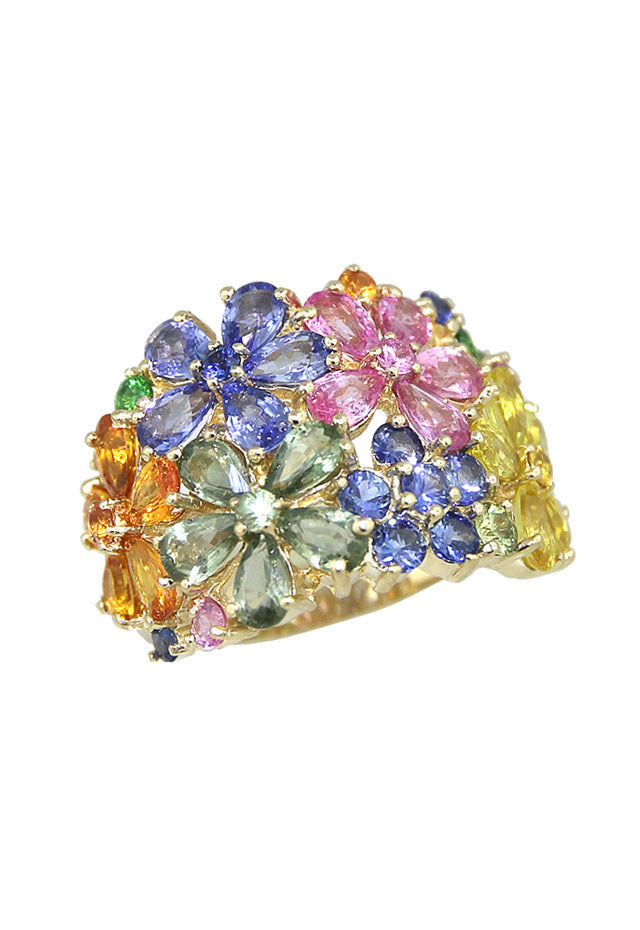 Effy Watercolors 14K Yellow Gold Multi Sapphire Floral Ring, 9.07 TCW