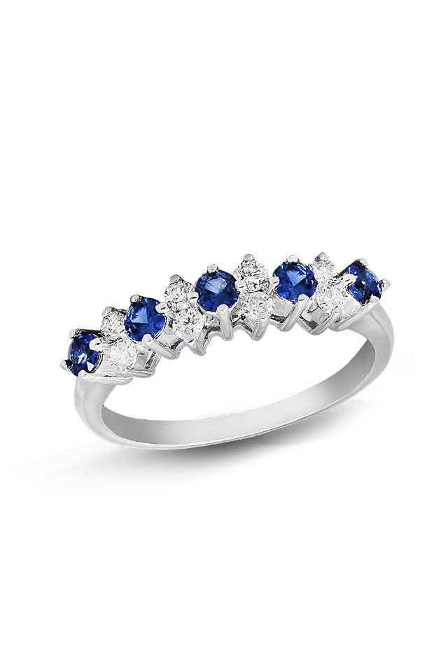 Gemma Blue Sapphire and Diamond Ring, 0.76 TCW