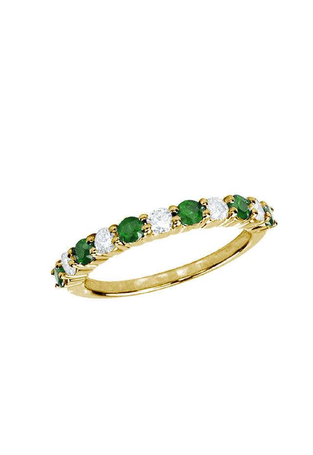Gemma Emerald and Diamond Ring, 0.73 TCW