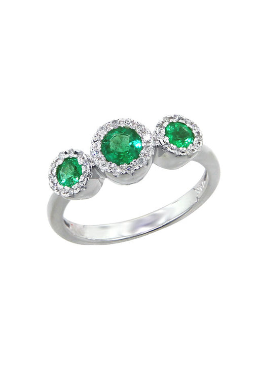 Effy Brasilica 14K White Gold Emerald and Diamond Ring, 0.83 TCW