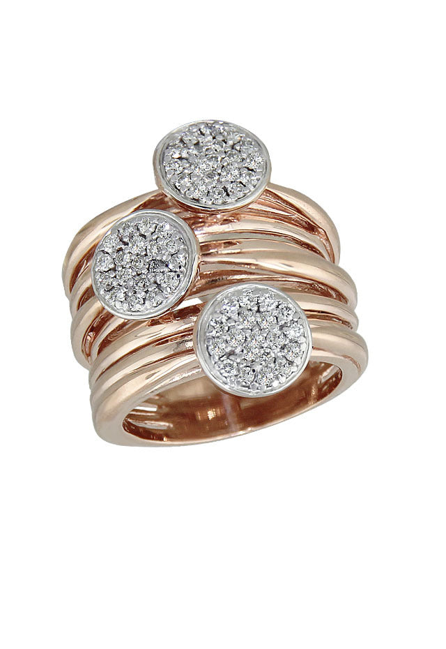 Pave Classica Rose Gold Diamond Ring, .70 TCW