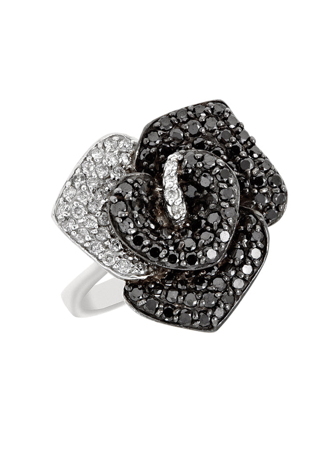14K White Gold Black and White Diamond Ring, 1.61 TCW