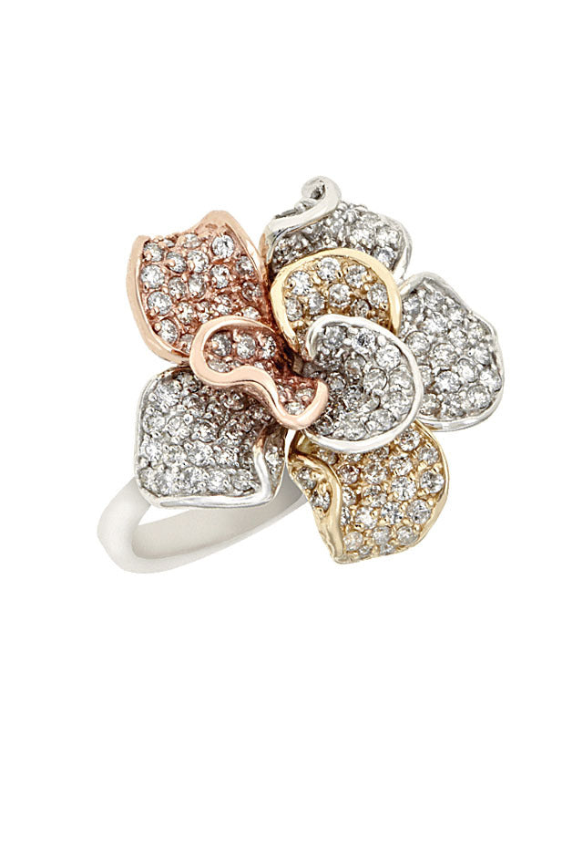 Effy 14K Tri-Color Gold Diamond Flower Ring, 1.57 TCW