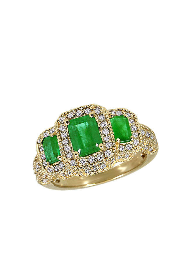 Gemma Emerald and Diamond Ring, 2.44 TCW