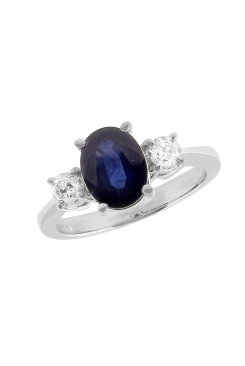 Gemma Oval Blue Sapphire and Diamond Ring, 2.29 TCW