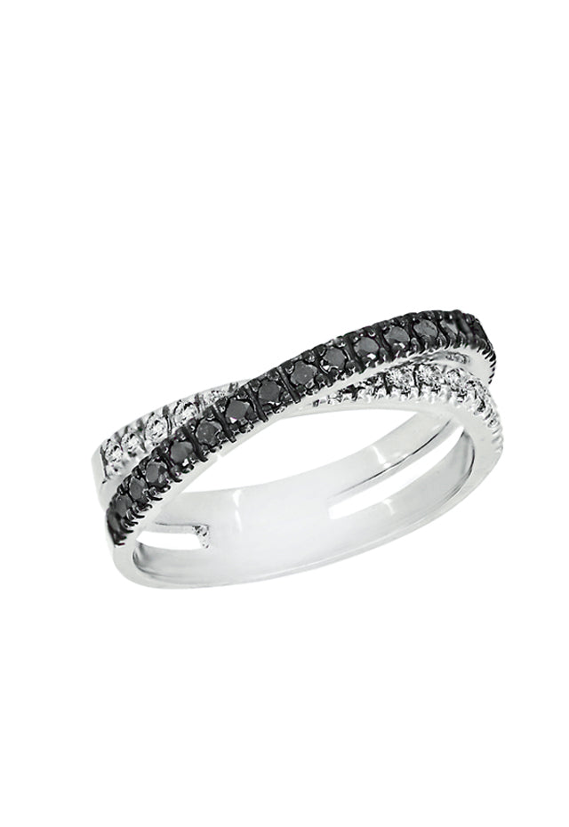 Effy 14K White Gold Black and White Diamond Ring, .50 TCW