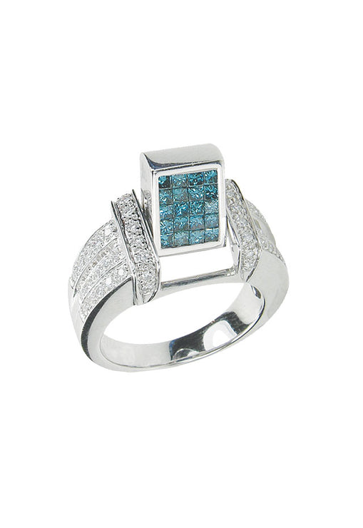 Diversa Blue and White Diamond Ring, 1.01 TCW