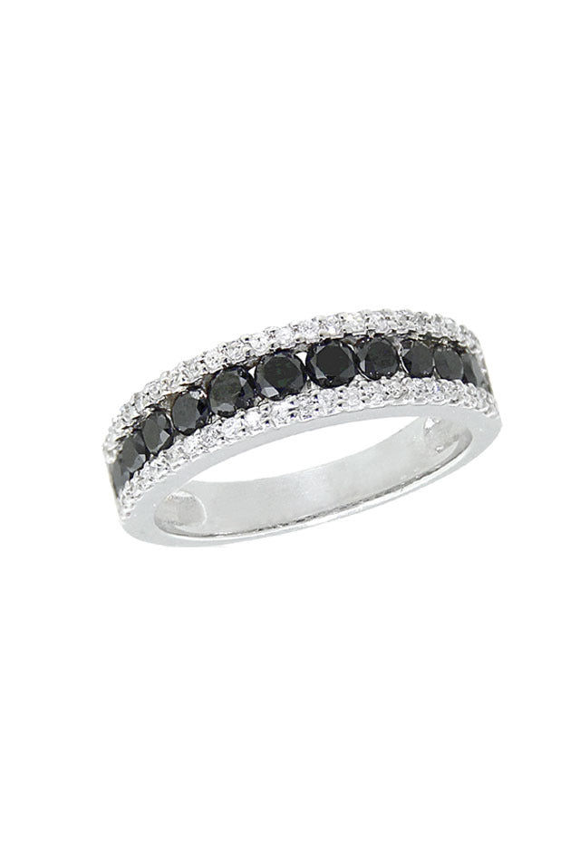 Effy 14K White Gold Black and White Diamond Ring, 1.07 TCW
