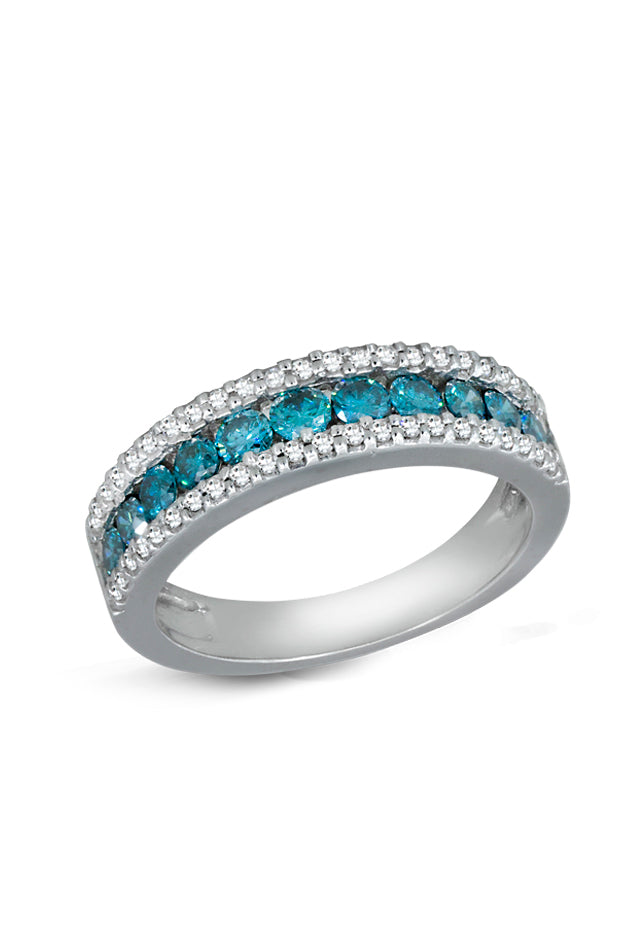 Effy Bella Bleu 14K White Gold Blue & White Diamond Ring, 0.89 TCW