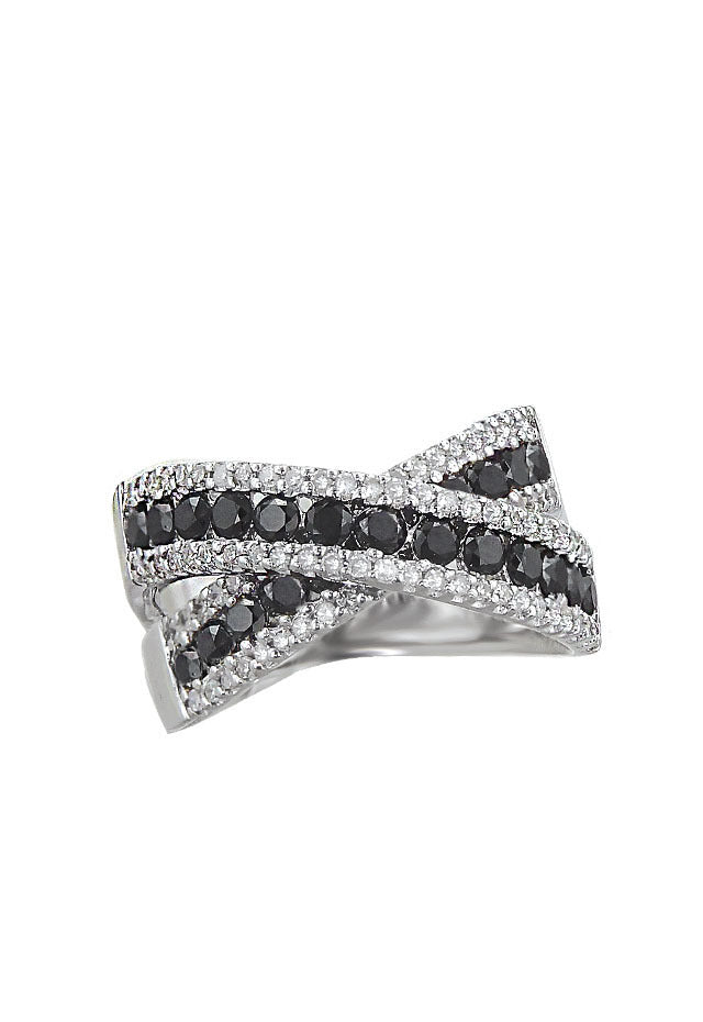 Effy 14K White Gold Black and White Diamond Ring, 1.64 TCW