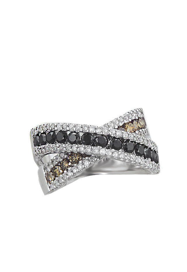 Prism Cognac and Black Diamond Ring, 1.64 TCW