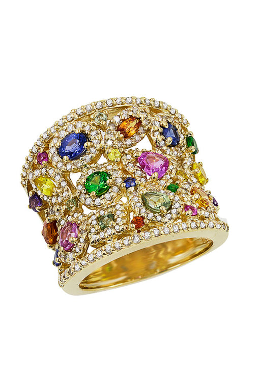Effy Watercolors 14K Yellow Gold Multi Sapphire & Diamond Ring, 3.94 TCW