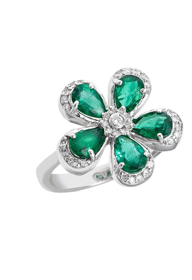 Effy 14K White Gold Emerald and Diamond Flower Ring, 2.08 TCW