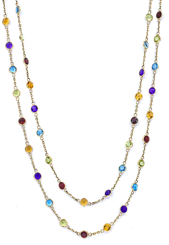 "Effy 14K Yellow Gold Multi Gemstone 40"" Necklace, 17.56 TCW"