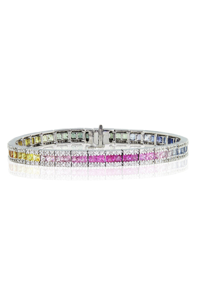 Effy Watercolors 14K White Gold Multi Sapphire & Diamond Bracelet, 9.16 TCW