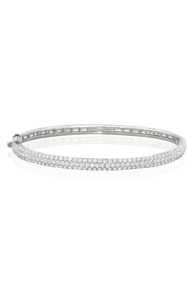 Pave Classica Diamond Bangle Bracelet, 3.15 TCW
