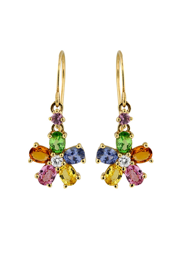 Effy 14K Yellow Gold Multi Sapphire and Diamond Flower Earrings, 2.55 TCW