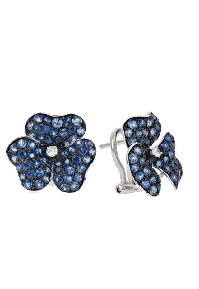Effy 14K White Gold Sapphire and Diamond Flower Earrings, 3.31 TCW