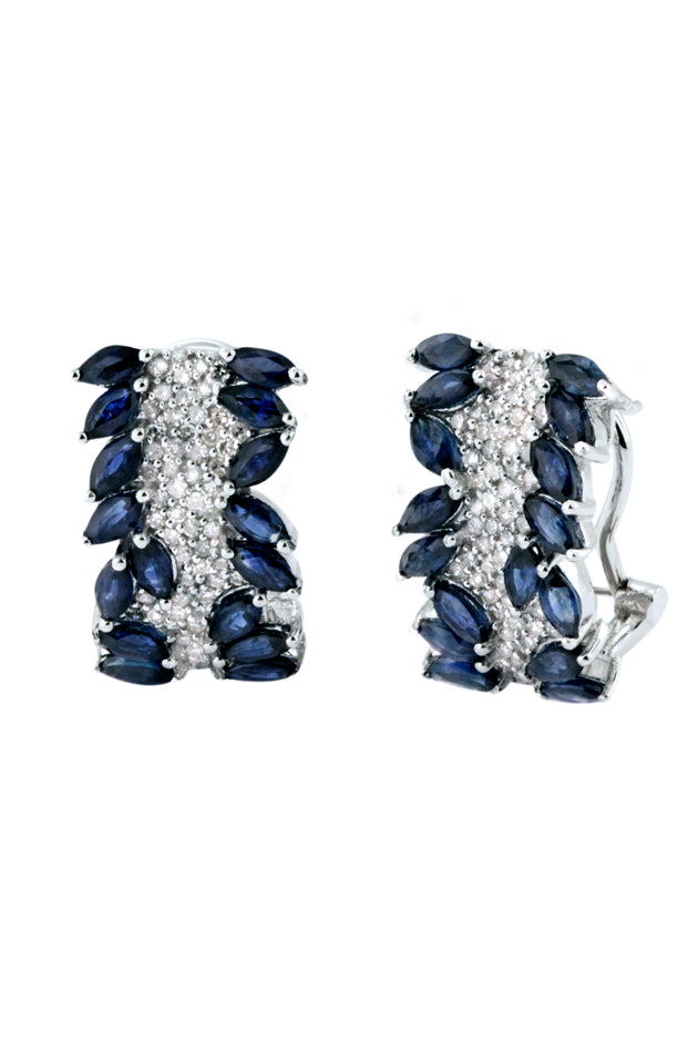 Effy 14K White Gold Blue Sapphire and Diamond Earrings, 4.20 TCW