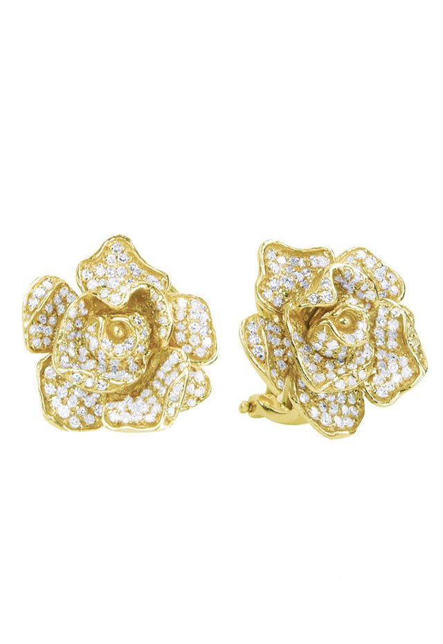 Effy 14K Yellow Gold Diamond Flower Earrings, 1.38 TCW
