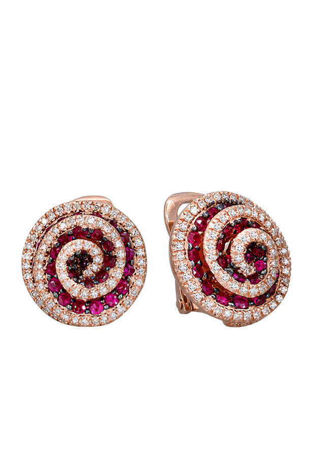 Jardin Bloom Ruby and Diamond Flower Earrings, 2.18 TCW