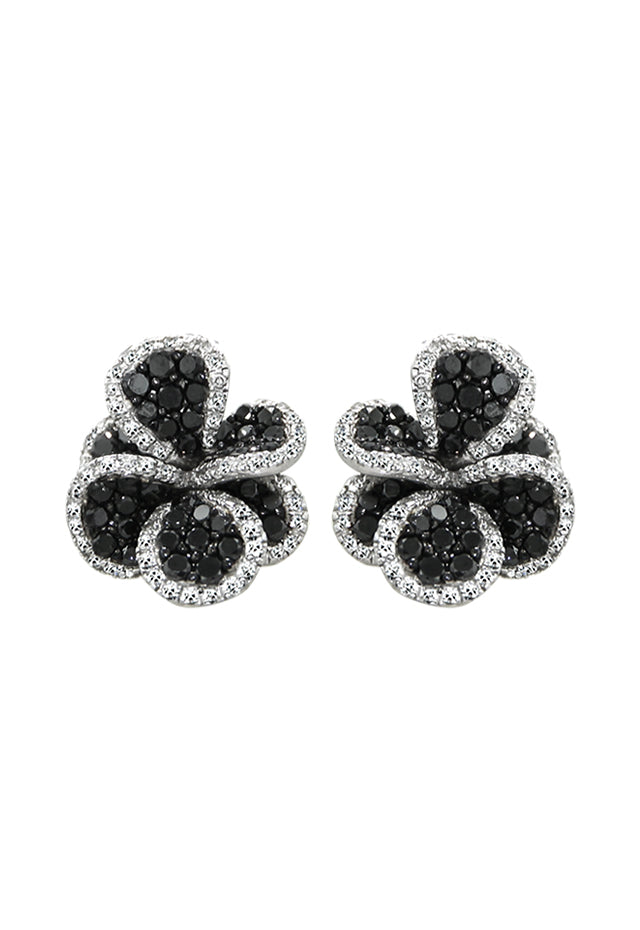 Effy 14K White Gold Black and White Diamond Flower Earrings, 1.82 TCW