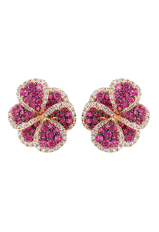 Jardin Bloom Ruby and Diamond Earrings, 2.25 TCW