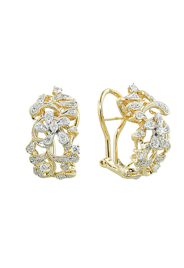 Effy D'Oro 14K Yellow Gold  Diamond Floral Earrings, 0.39 TCW