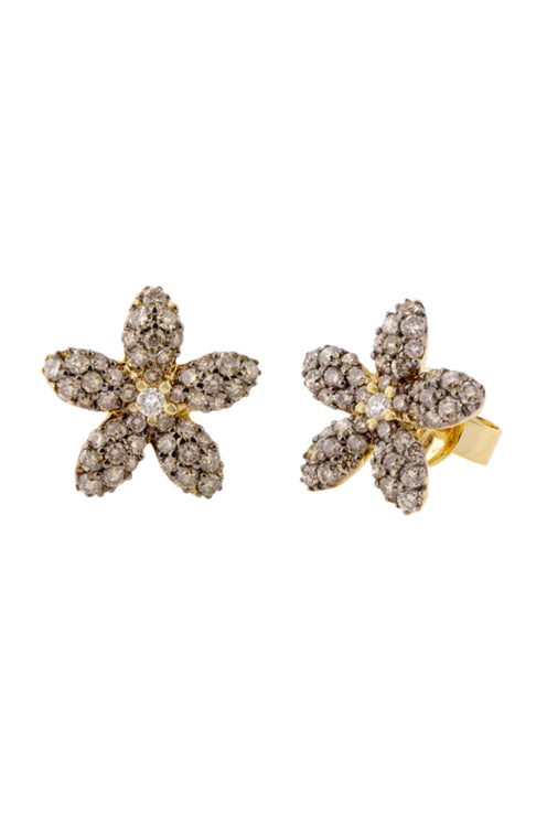 Effy 14K Yellow Gold White and Cognac Diamond Flower Earrings, 1.01 TCW