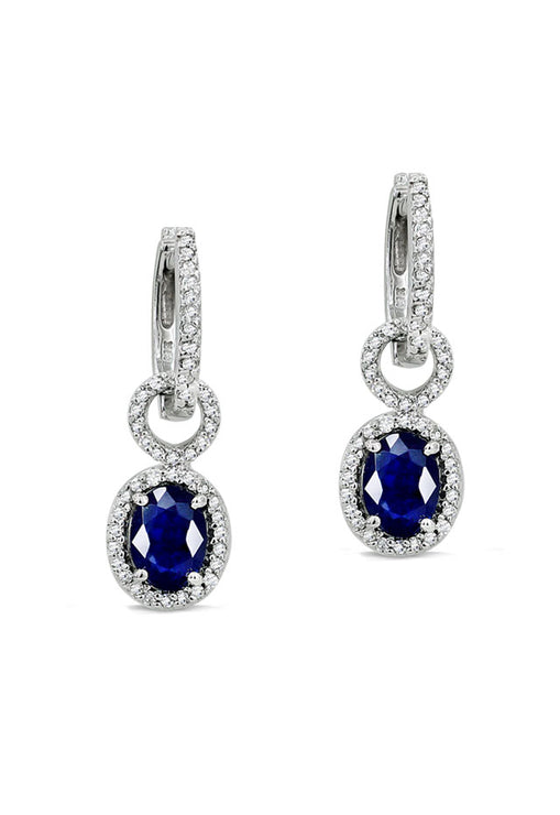 Gemma Blue Sapphire and Diamond Earrings, 2.27 TCW