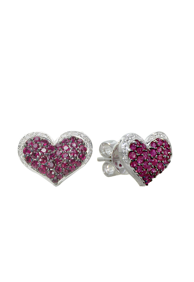 Effy 14K White Gold Ruby and Diamond Heart Earrings, 1.00 TCW