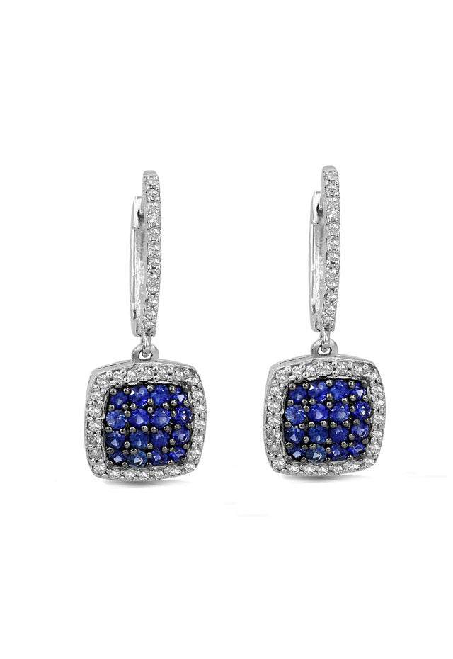 Effy Gemma 14K White Gold Blue Sapphire and Diamond Earrings, 1.11 TCW