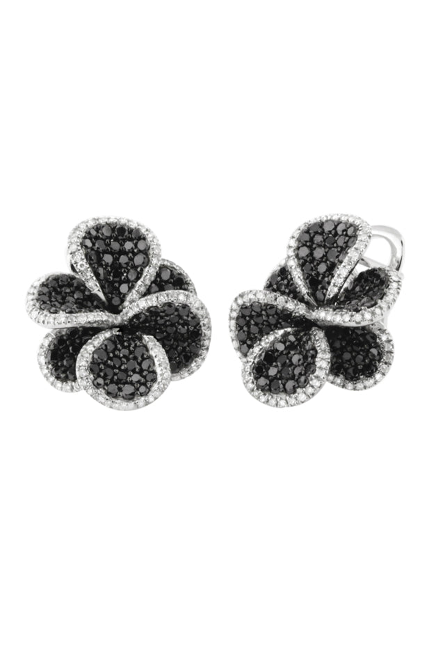 Effy 14K White Gold Black and White Diamond Flower Earrings, 2.68 TCW