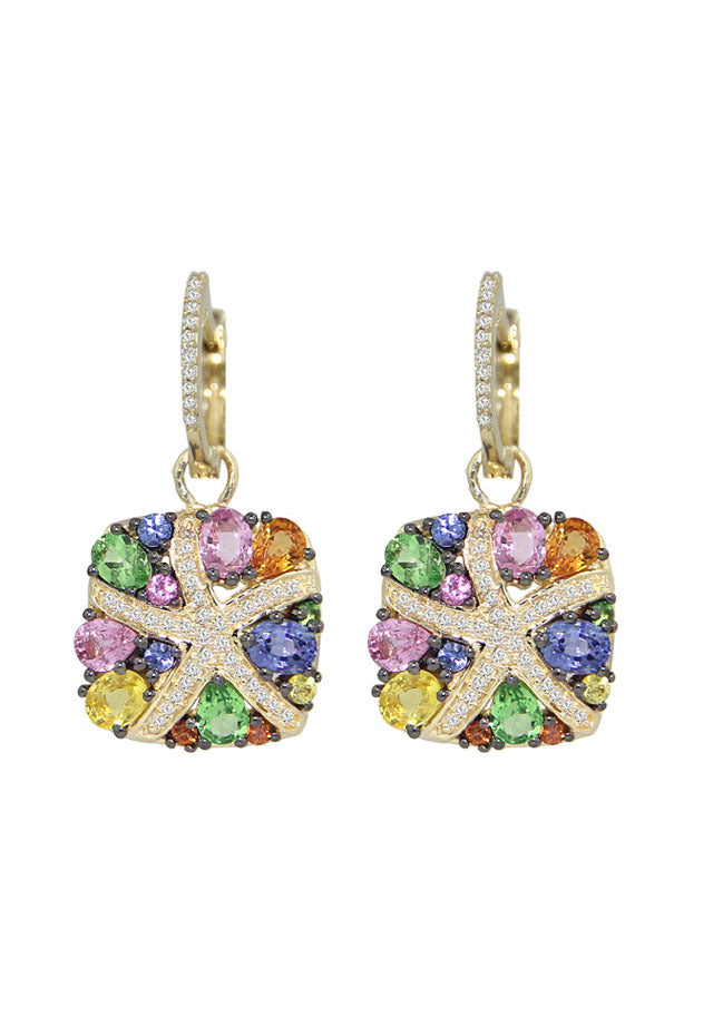 Effy Watercolors 14K Yellow Gold Multi Sapphire & Diamond Earrings, 3.98 TCW