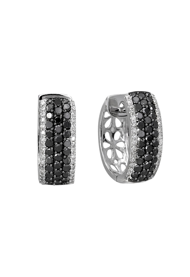 Effy 14K White Gold Black and White Diamond Earrings, 1.30 TCW