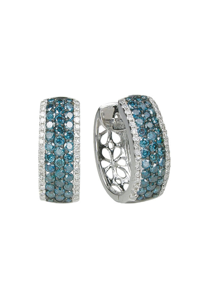 Effy Bella Bleu 14K White Gold Blue and White Diamond Earrings, 1.30 TCW